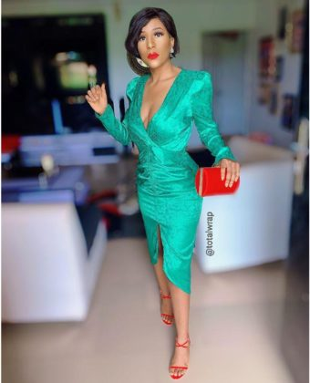 Green Plunge Ruched Front Slit Dress
