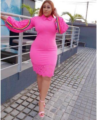 Pink Rainbow Lace Bottom Dress
