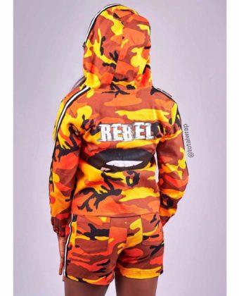 Orange Rebel Camo Hoodie Jacket