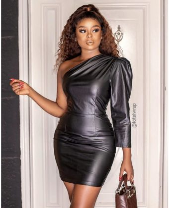 One Hand Faux Leather Black Dress