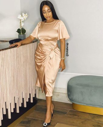 Nude Wrap Front Style  Midi  Dress