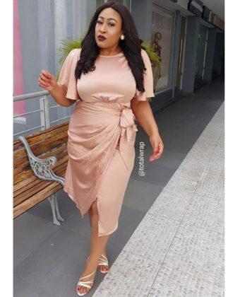 TW Plus Nude Wrap Front Style Midi  Dress