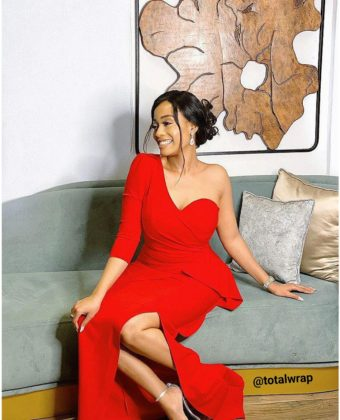 Red One Sleeve Front Slit Midi  Dress