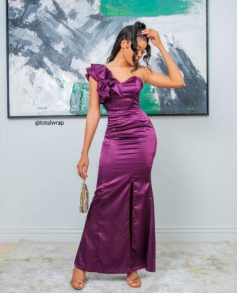 Purple One Hand Thigh High Slit Dress