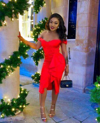 Red Off Shoulder Side Frill Slit Midi Dress