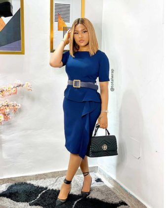 Navy Blue Peplum Side Frill Midi Dress