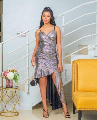 Grey Triple Buckle Assymetric Dress