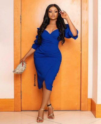 Royal Blue Puffy Sleeve Wrap Front Midi Dress