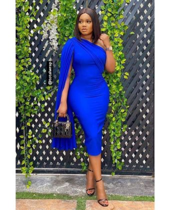 Royal Blue One Pleat Sleeve Midi Dress