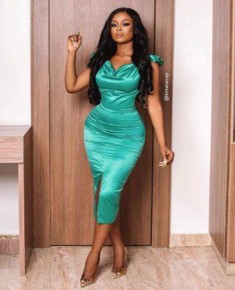 Green Front Slit Midi  Dress
