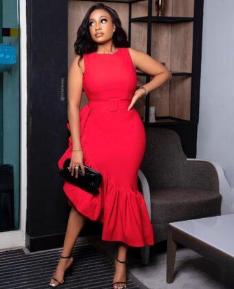 Red Sleeveless Frill Side Midi Dress
