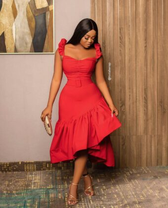 Red Frill Front Midi Dress With Belt