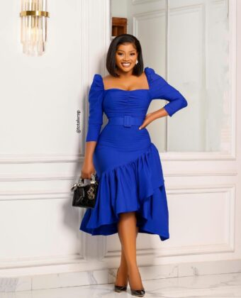 Blue 3/4 Frill Front Midi Dress With Belt