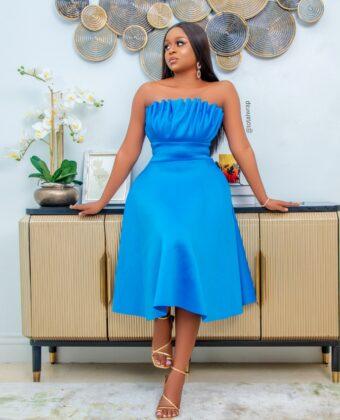 Turquoise Blue Skater Midi Dress