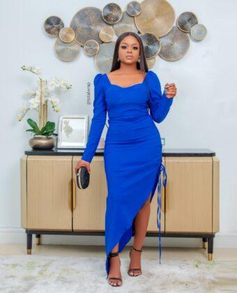 Blue Double Sleeve Statement Midi Dress