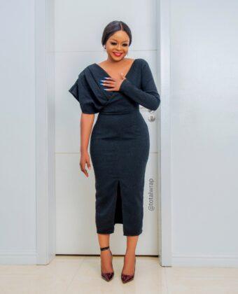 Black One Sleeve Statement Midi Dress
