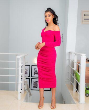 Fushia Pink Ruched Asymmetric Style Midi Dress