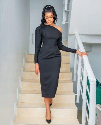 Black Assymetric Sleeve Statement Midi Dress