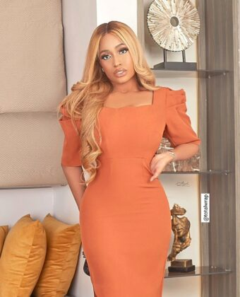 Rust Puffy Sleeve Assymetric Style Buttom Midi Dress