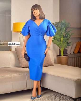 Royal Blue Puffy Sleeve Statement Midi Dress